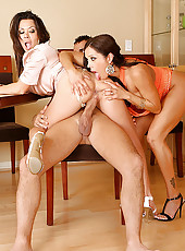 Hot strip poker babes take on a hard cock after losing the pot in these hard table 3some fucking and masterbation pics