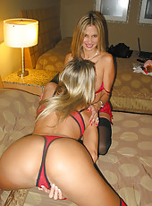 Rio and her friend Kelli making out and posing in sexy lingerie