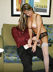 HotWifeRio gets dressed in her favorite stockings and jerks off a huge cock