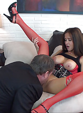 HotWifeRio in a short skirt and red sexy stockings sucking off a business man