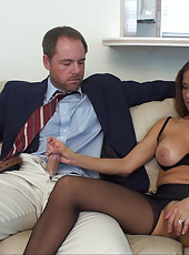 Rio poses in her crotchless pantyhose then gets a dick shoved in her mouth