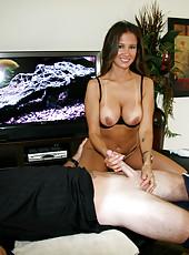 HotWifeRio hikes up her short skirt and massages one of her members off