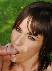 Horny brunette milf in fucking action at the park