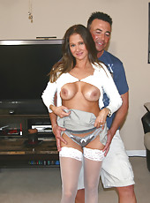 HotWifeRio puts on a pair of sexy white stockings then fucks a huge cock