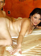 Hot grandma enjoys a hard young dick deep inside