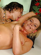 Cocklover horny granny fucking with young boy