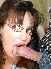 Mature grandma with glasses gets big cock and facial