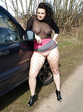Big butt busty Daniella dressed like a slut by the roadside