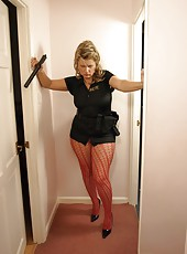 Hot and horny big ass cop in pink patterned pantyhose