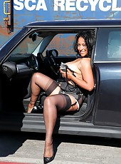 Danica Collins strips to her stockings in a car park