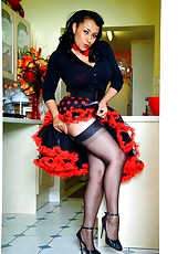 Danica in vintage lace petticoats with ff stockings and heels.