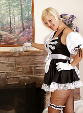 32 year old Kelly L plays maid before spreading her long legs wide