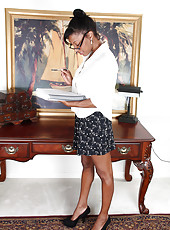 Hot ebony Jayden from AllOver30 spreads her pink slit on her desk