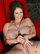 Banging Herself With A Glass Dildo