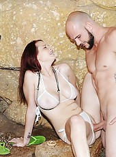 Amazing bigtit round juicy ass redhead sucks cock and   gets her wet pussy rammed and spryad with cum