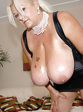 Big natural titties we all love the titty fuck check her out as she gets it all over her face and titties
