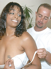 Huge tit ebony hottie gettin her stud to come on her tattooed tits