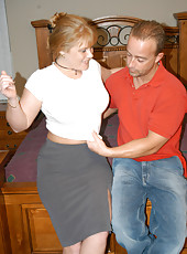 Housewife with a great bust uses her tits to jerk her lover off