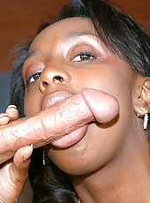 This ebony babe has enourmous titties and loves to get them creamed on