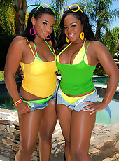 Big bouncy melon babes share a hard cock in the pool in these hot ebony fucking vids