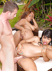 Check out these 2 hot fine brown babes get fucked in the park in these hot outdoor 3some vids