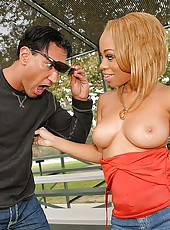 Hot big golden booty big tits melrose gets picked up at the park for some super hot pussy pounding and flying cumshot action back at the pad pics and big video update