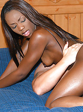 Really hot black babe takes some cum on her big black ass