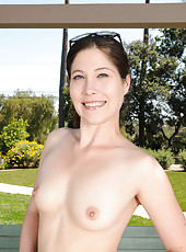Lounging naked outdoors Jamie Lynn Skye puts on a great show