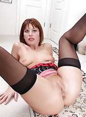Gorgeous tight 40 year old Sky Rodgers spreads in black nylons