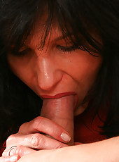 All natural and hairy MILF slides up and down a young cock