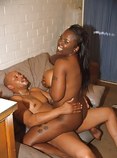 Fat assed black babe getting fucked on the couch