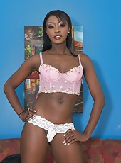 Hot ebony babe Rayne showing off her tight pink pussy
