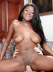 Hot ebony babe on thick white cock