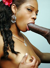 Ebony chick gets slammed and rammed by hard cock