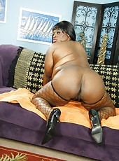 Obese ebony MILF bent over and getting fucked hard