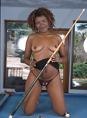 Black exhibitionist gets dicked on the billards table