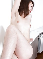 Sexy hairy girl Mary strips, showing her armpits and hairy legs. She puts her whole living room to work, finally hopping up on her dining table to show her hairy pussy.