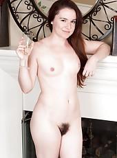 When her date leaves her in the dust hairy girl Annabelle Lee decides to have a good night on her own with a glass of wine and her own hairy pussy. She strips down and enjoys herself all night long.