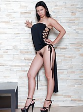 Bianka loves her black cocktail dress. Better yet she loves to take it off too. She will give you a great show as she gently lowers her dress to reveal her huge tits and her hairy pussy.