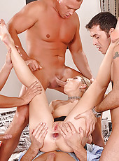 Horny babe Katy enjoys three cocks