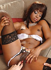 Ebony babe in hot interracial sex