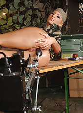 Hot military blond machine fucked