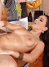 Horny Juliana juggles 3 hard cocks