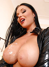 Domme In Sexy Latex Sucking Cock