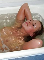 Compilation of a naughty naked wife posing in the bath tub