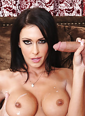 Gorgeous busty brunette Jessica Jaymes waits for younger stud to come over so she can seduce him into fucking her.