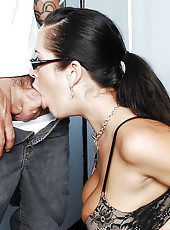 Carmella Bing is a hot and busty teacher who gets bent over her desk and fucked.