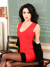 Jessica Jaymes decides to let her student slide his cock into her pussy and fuck her on her teacher desk.