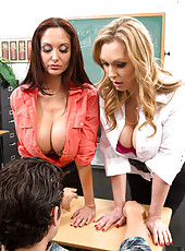 Ava Addams and Tanya Tate teach one of their students how to have a hot sexy threesome.