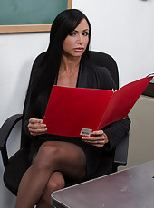 Busty hot brunette teacher Jewels Jade has hot sex with big cock and loves getting fucked on her desk.